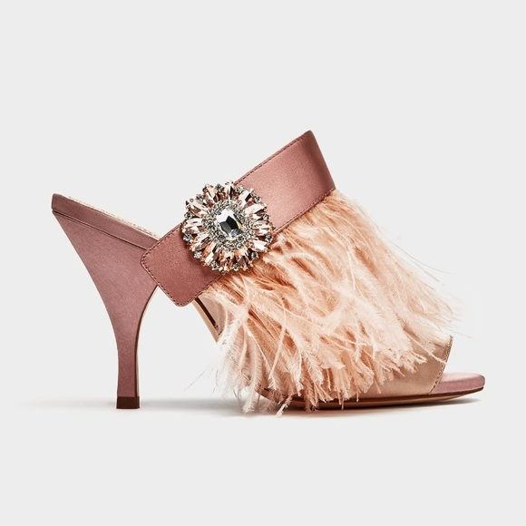 223a641fbe3 Zara high heel mules with feather   brooch detail